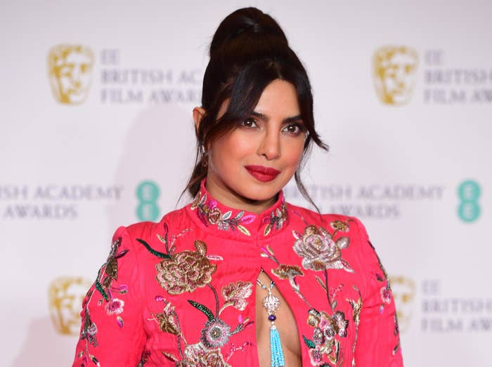 Priyanka wears a pink floral jacket