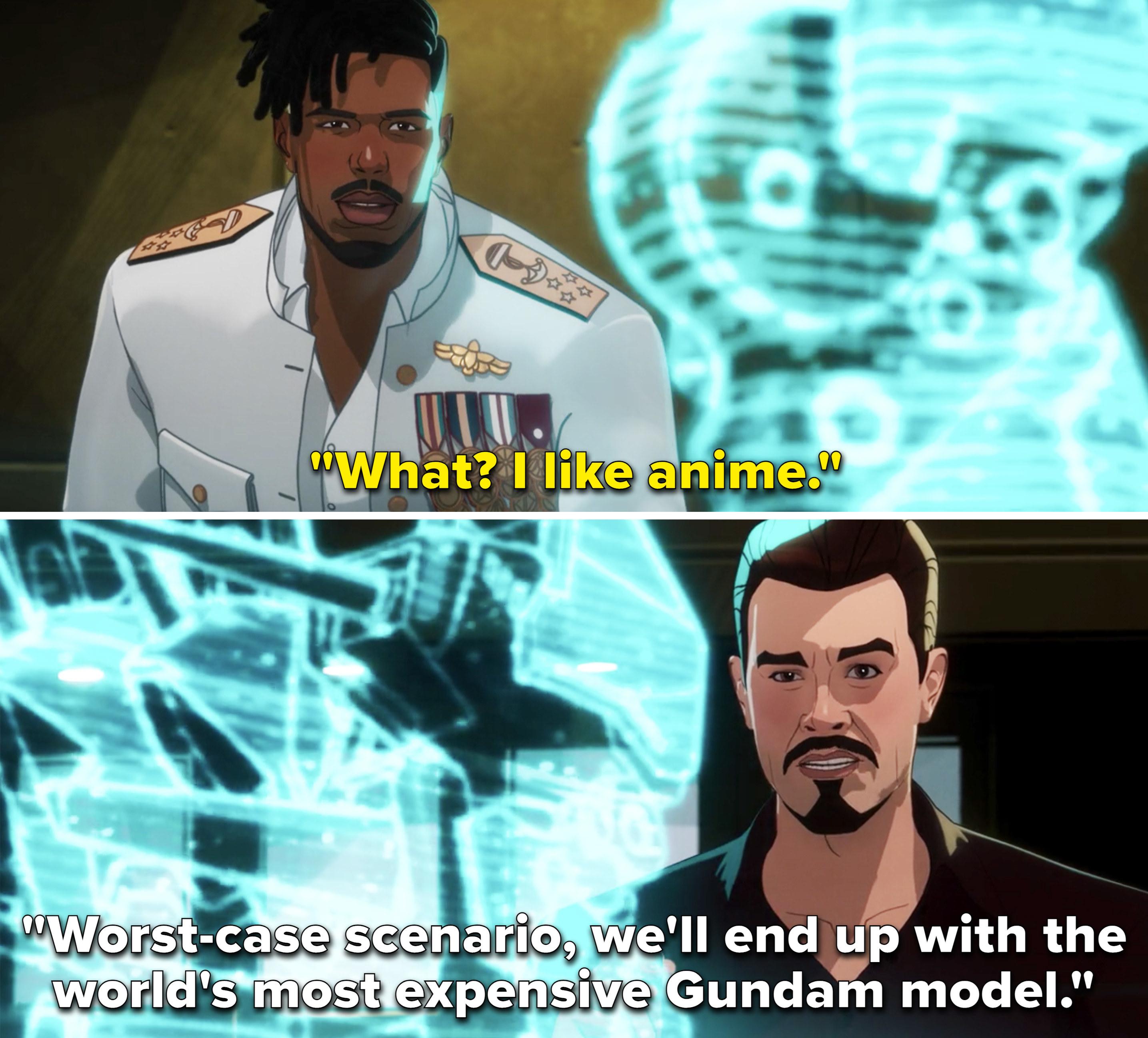 Killmonger saying he likes anime and Tony mentioning Gundam