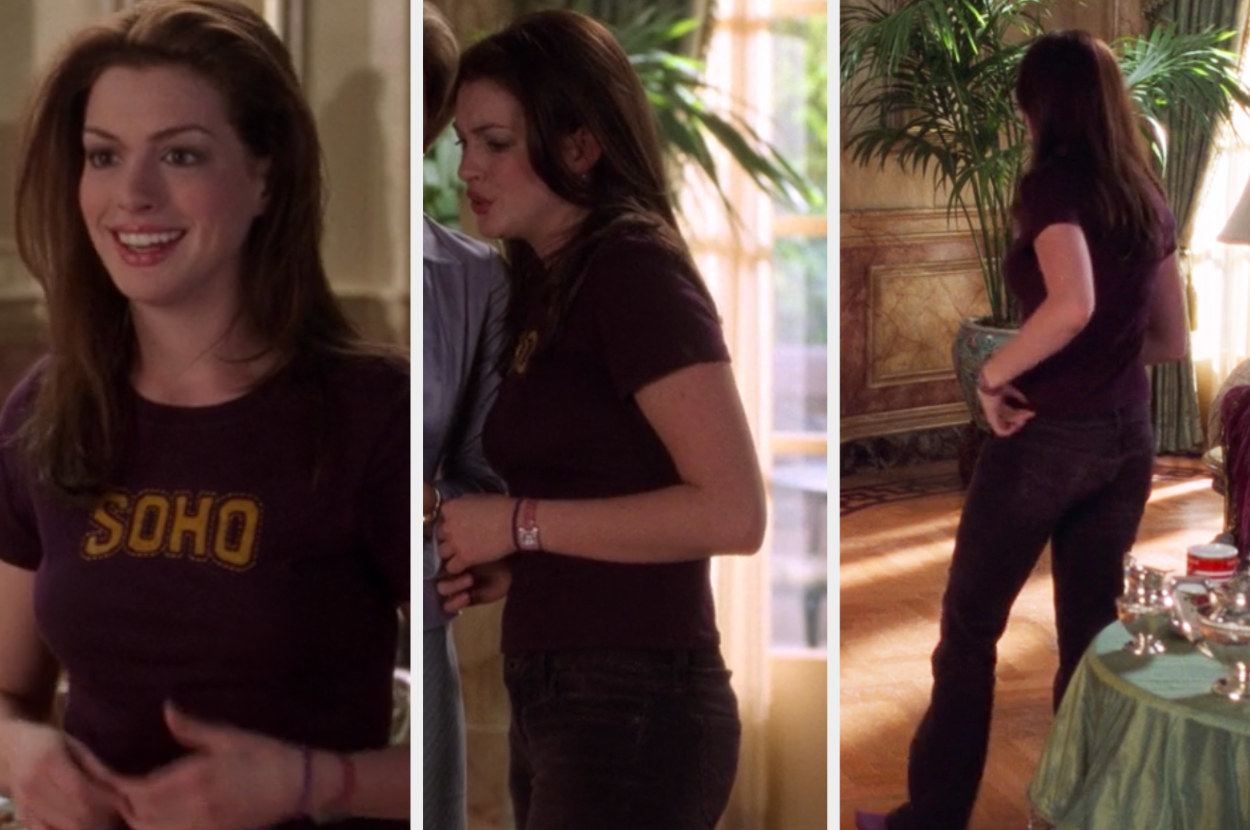 Princess Mia in a monochrome outfit — a burgundy t-shirt and burgundy jeans