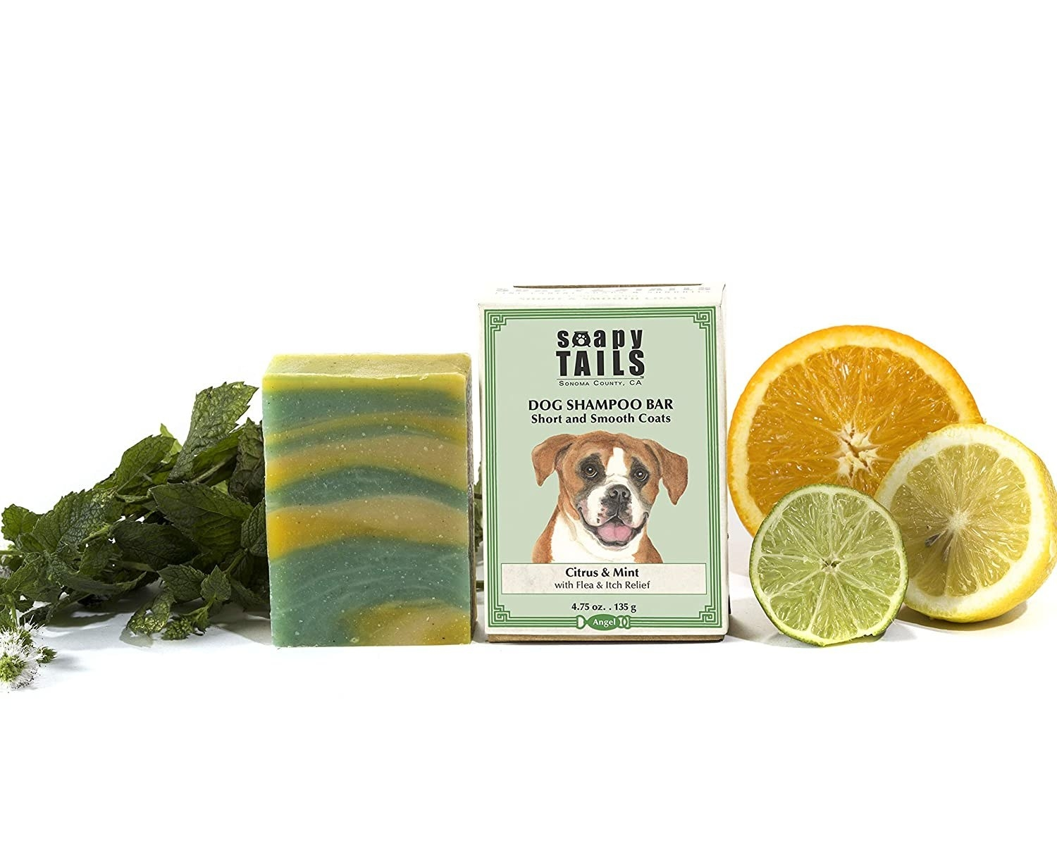 the soap bar with the product box featuring a lovely dog illustration