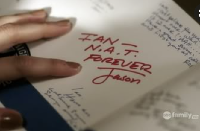 """Jason's signature in Ian's yearbook: """"N.A.T. forever"""""""