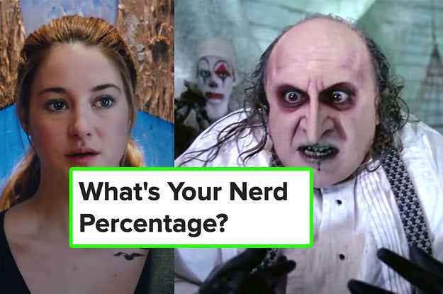 Shailene Woodley in Divergent and Danny DeVito in Batman Returns next to the title of the quiz