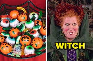 On the left, someone holding a basket of Halloween candy, complete with gummy eye balls and worms, and on the right, Winnie from Hocus Pocus labeled witch