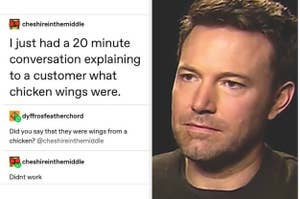 person trying to explaini chicken wings to a customer