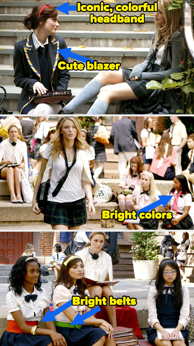 bright belts, jackets, and shoes worn by blair and serena in gossip girl