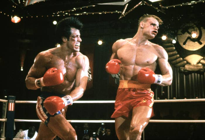"""In """"Rocky IV,"""" Stallone punches out Drago in the boxing ring"""