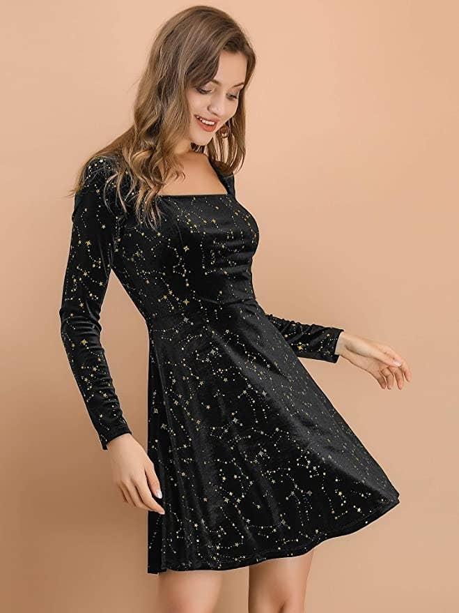 model in skater shape star print velvet dress