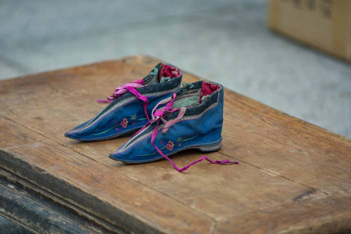A photo of lotus shoes used to bind feet of young girls