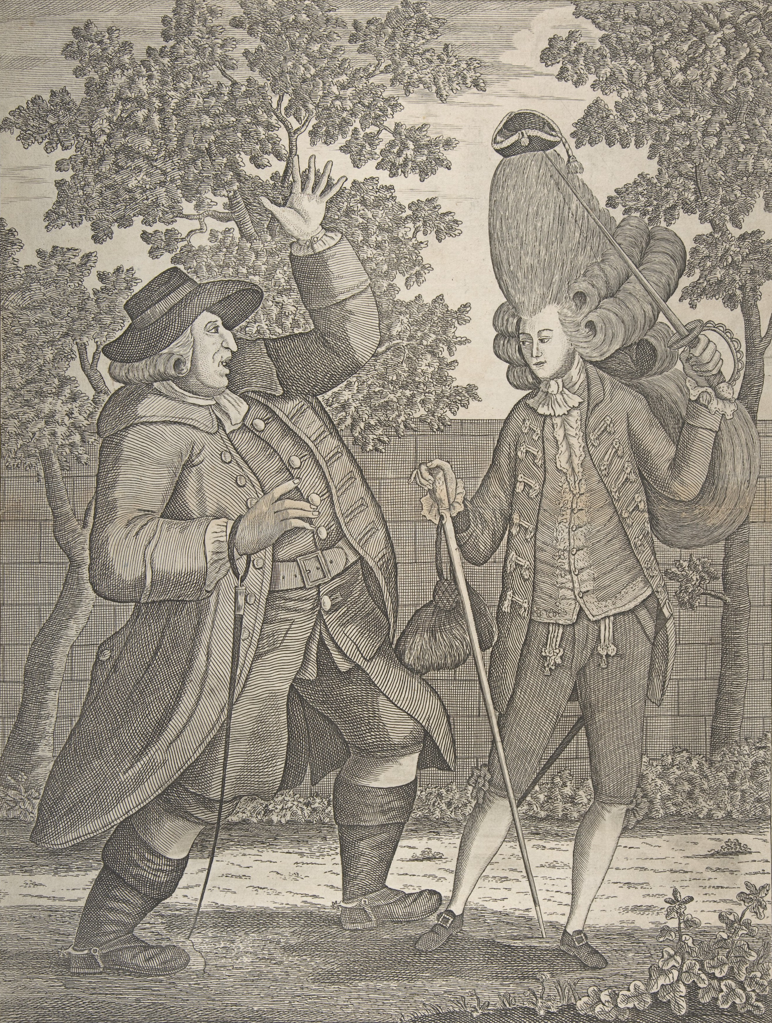 Photo of two men in Victorian wares, one with a high-standing hairstyle