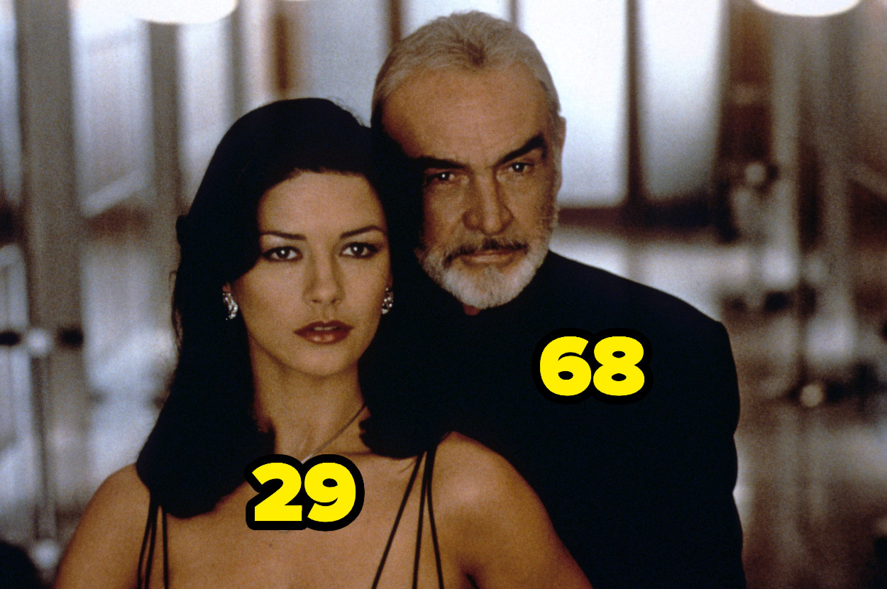 Catherine Zeta-Jones is 29; Sean Connery behind her is 68