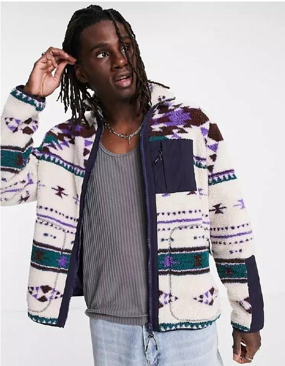 Model wearing the fleece