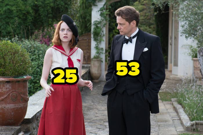 Emma Stone was 25 and Colin Firth was 53
