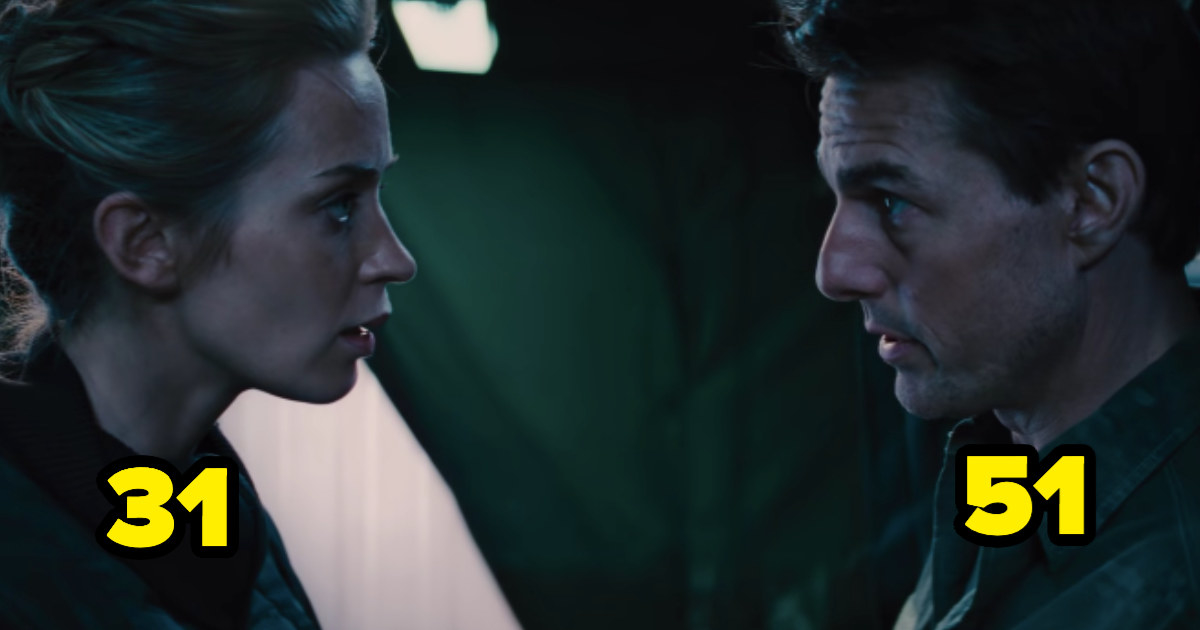 Emily Blunt is 31 looking at Tom Cruise, who is 51