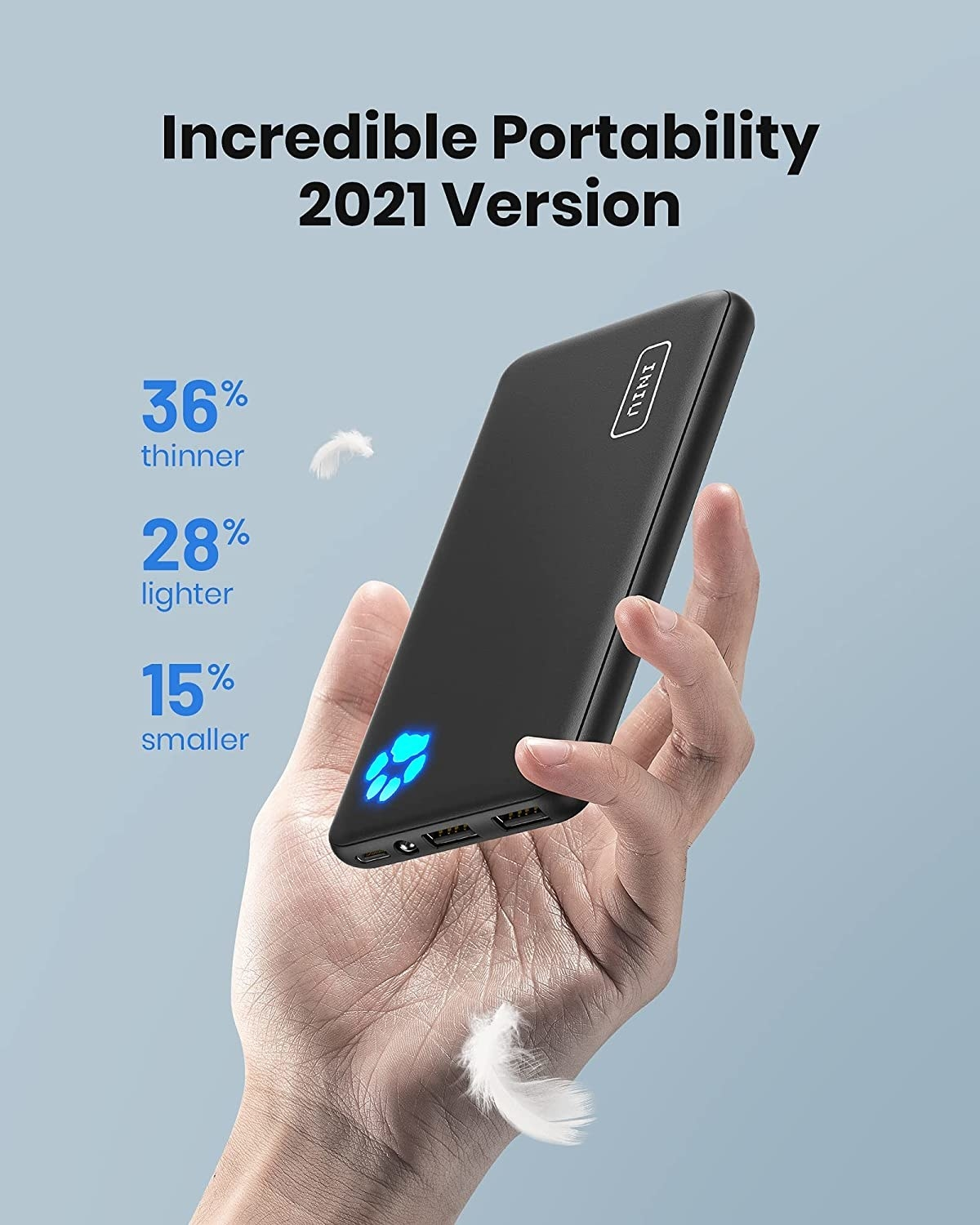 The 2021 version of the bank, which is 15% smaller, 28% lighter, and 36% thinner