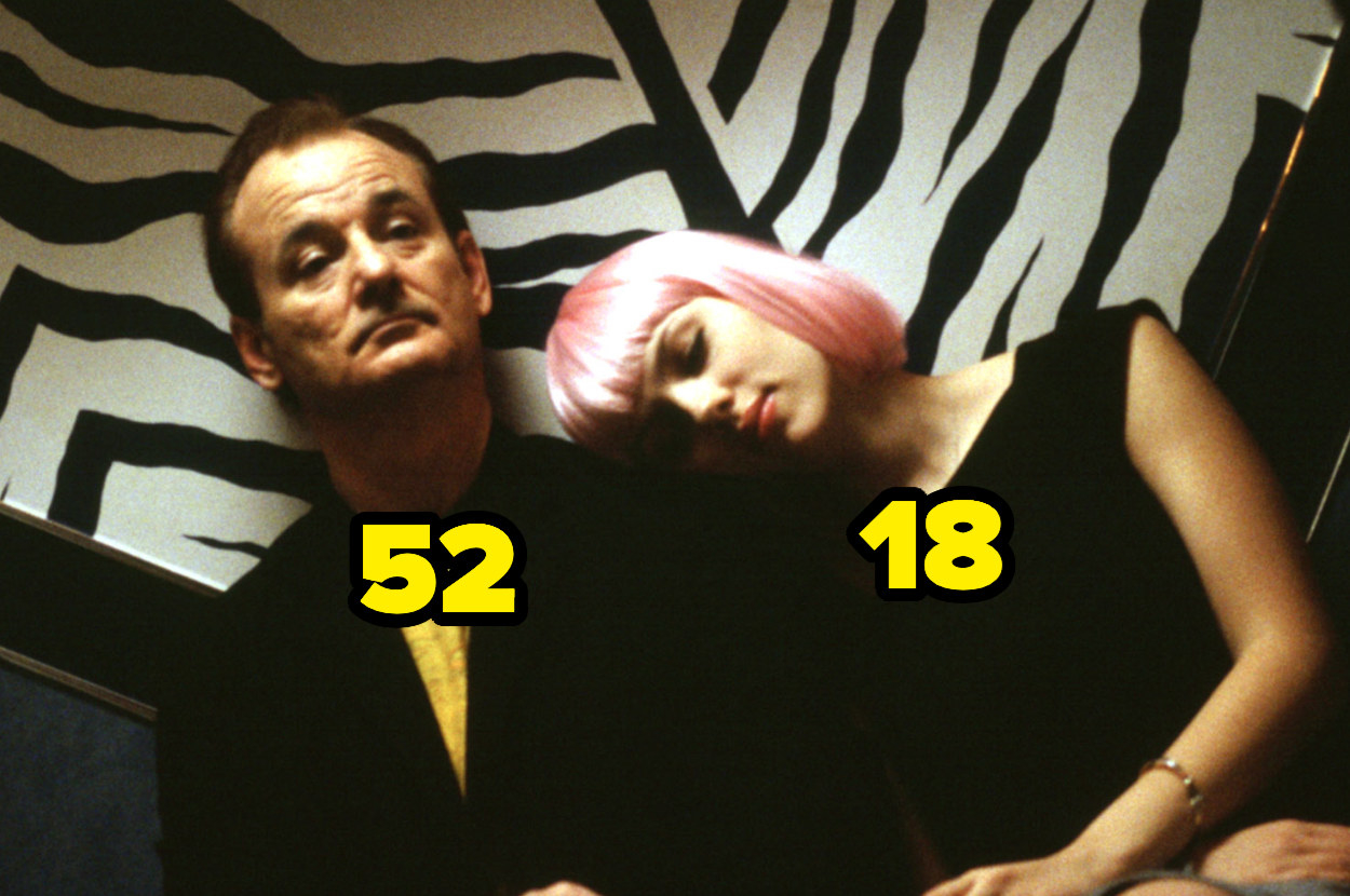 Bill Murray is 52, with 18-year-old Scarlett Johansson resting her head on his shoulder