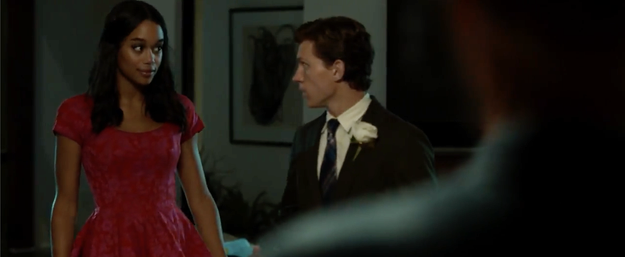 Liz smizing in her dress