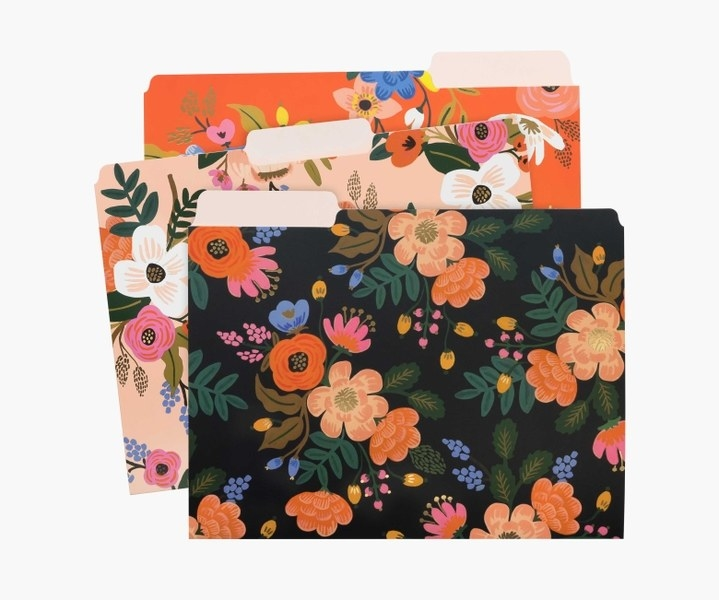three folders in rifle paper floral prints