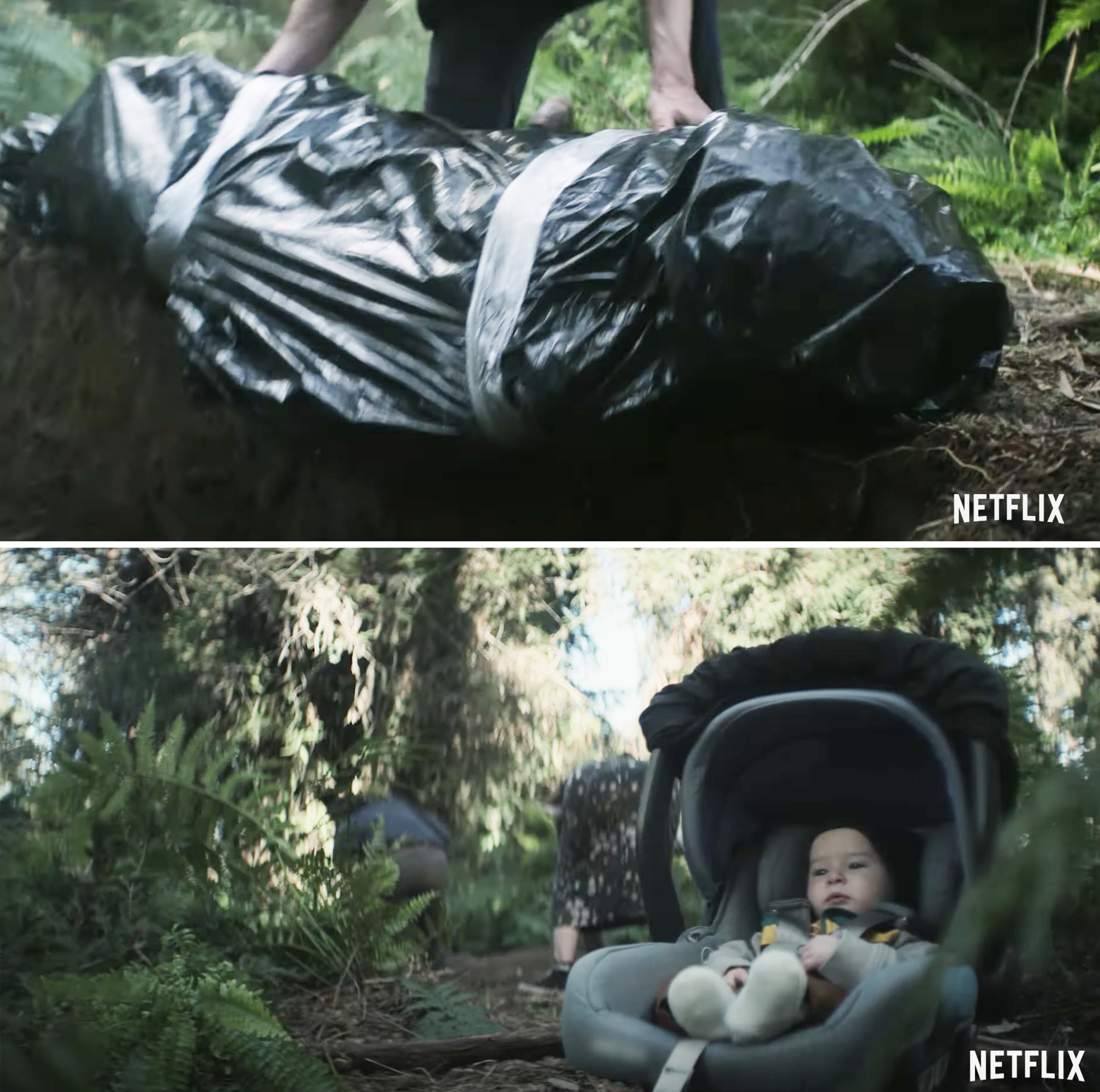 A body bag in the first image and the baby in a carseat on the ground as someone digs a hole in the background in the second image