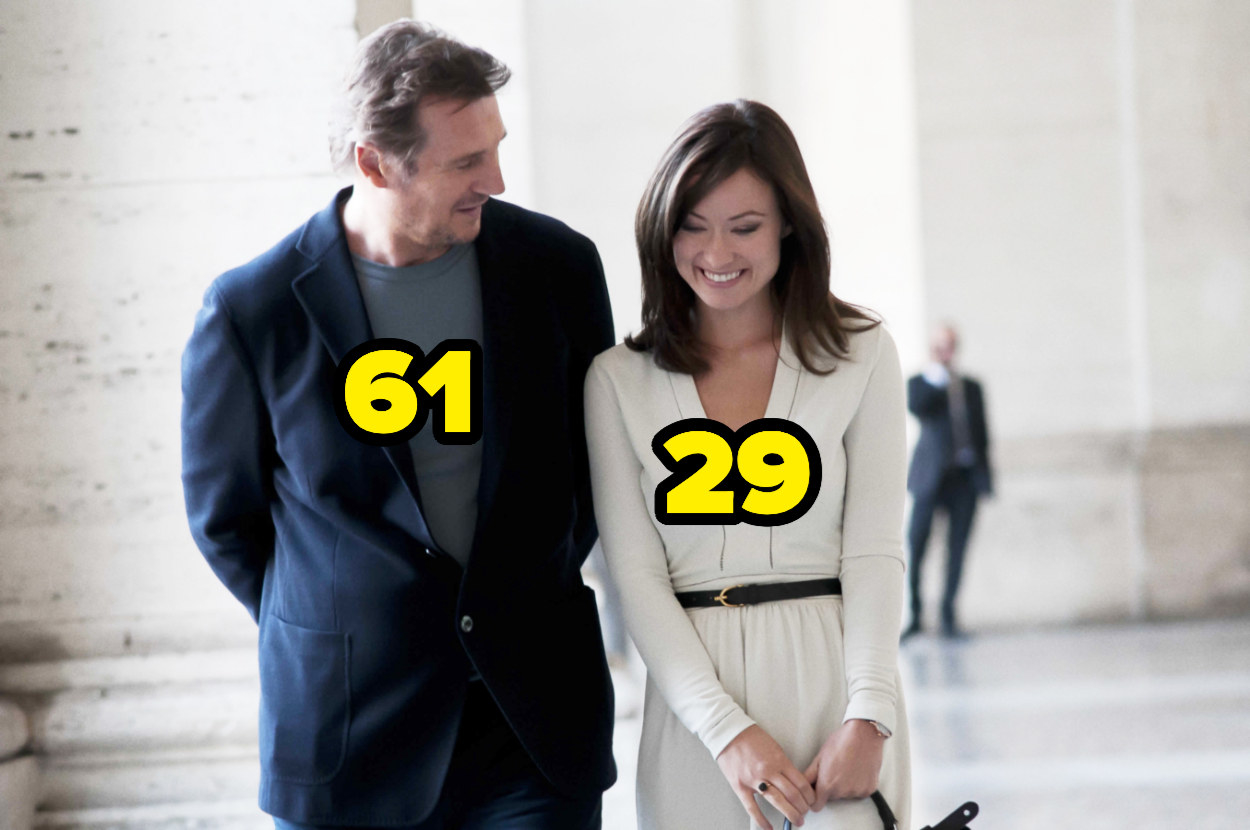 61-year-old Liam Neeson walking next to 29-year-old Olivia Wilde