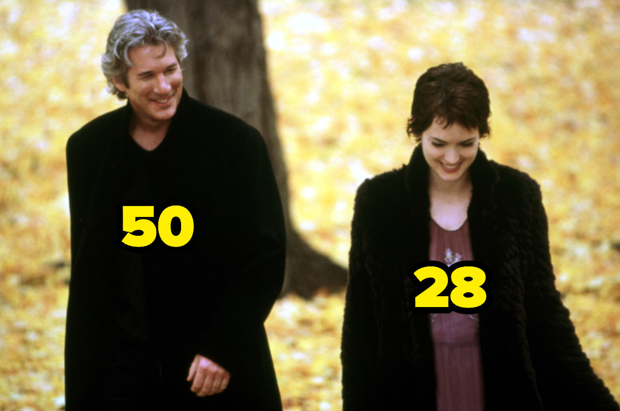 50-year-old Richard Gere walking with 28-year-old Winona Ryder