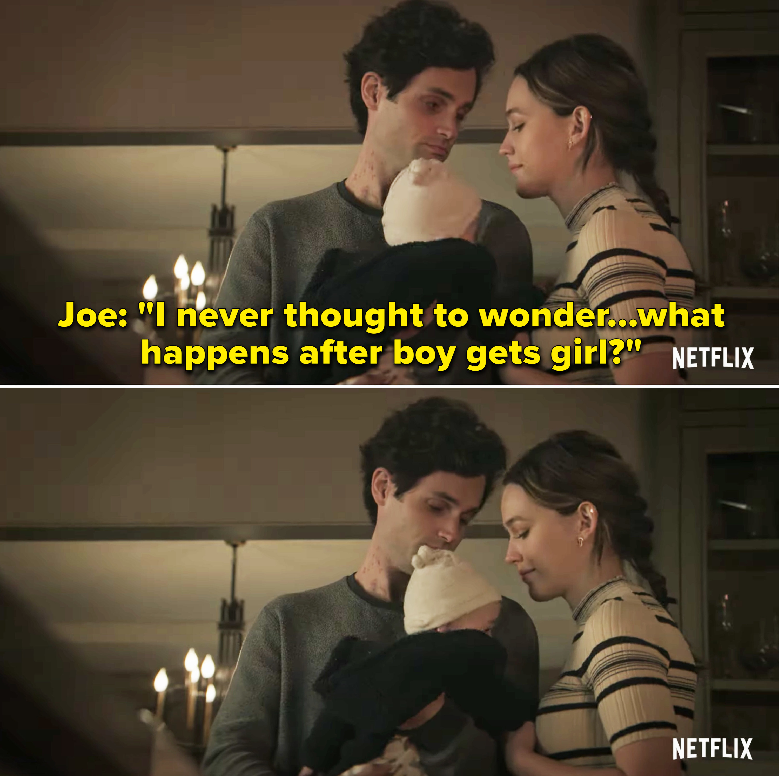 """The couple with their son with the caption from Joe, """"I never thought to wonder...what happens after boy gets girl?"""""""