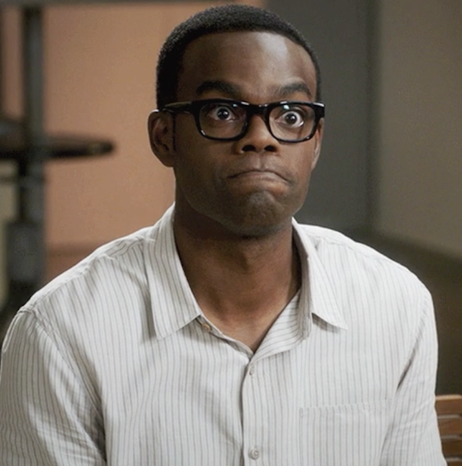 """Chidi from """"The Good Place"""" making an annoyed face"""