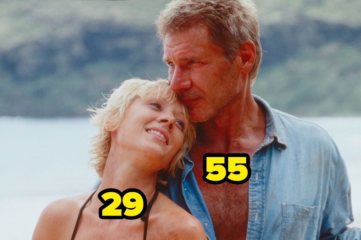 29-year-old Anne Heche leaning on 55-year-old Harrison Ford