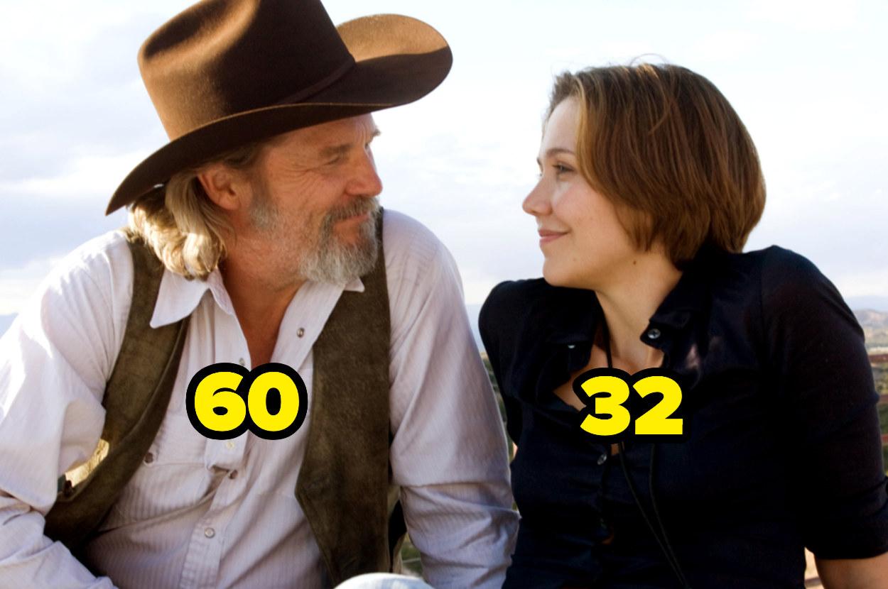 60-year-old Jeff Bridges looking at 32-year-old Maggie Gyllenhaal
