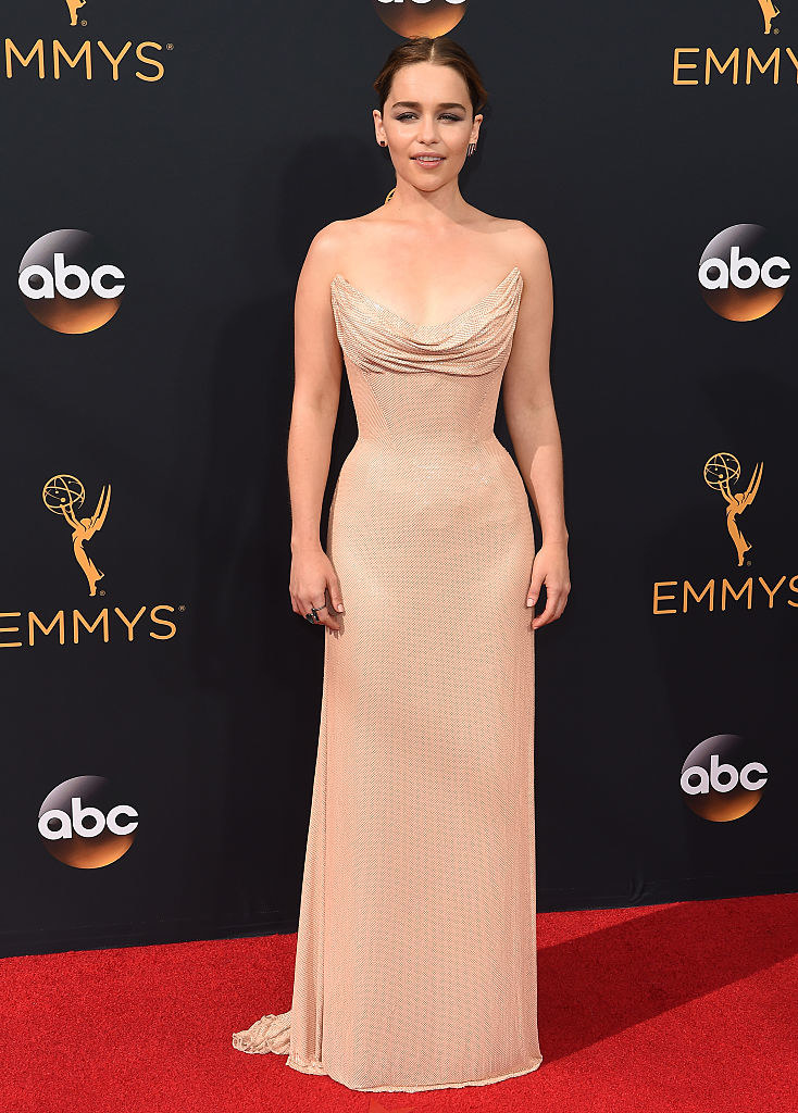 Tank top, cowl-neck tight, long dress with tiny pieces of glitter and sheer-ish fabric at the sides of the waist