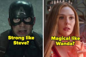 A close up of Steve Rogers as he wears the Captain America helmet and a close up of Wanda Maximoff as she uses her magic