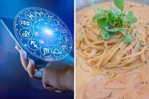 Zodiac sign equals rose cream pasta