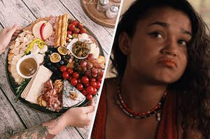 """An overhead shot of a charcuterie board and a close up of Kiara from """"Outer Banks"""" as she frowns"""