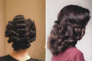 A reviewer with rollers in their hair, and the brushed out curls
