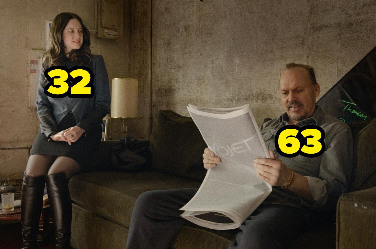 32-year-old Andrea Riseborough looking at 63-year-old Michael Keaton