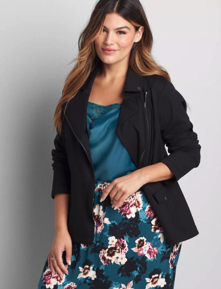 model wearing the black moto jacket