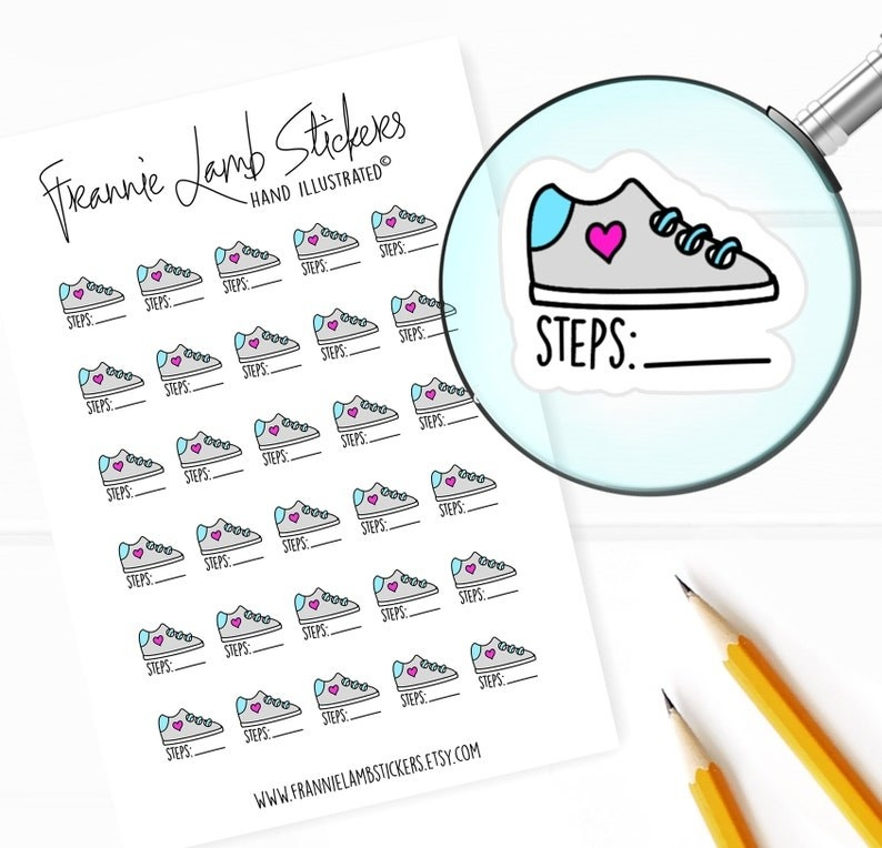 stickers shaped like sneakers with a space to write your number of steps