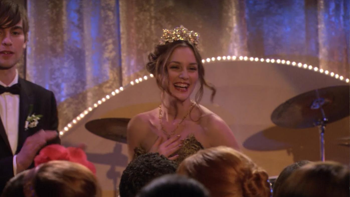 Blair wearing an extravagant tiara