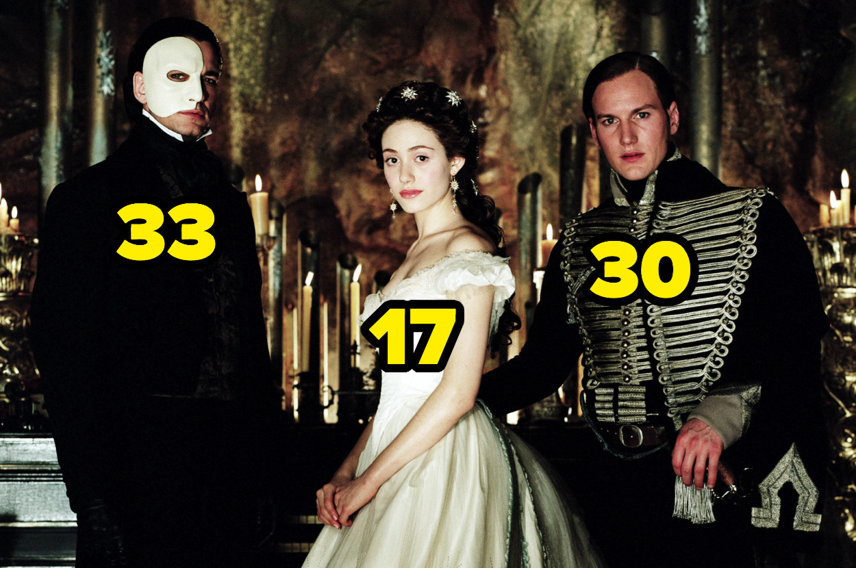 33-year-old Gerard Butler, 17-year-old Emmy Rossum, and 30-year-old Patrick Wilson