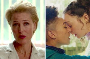 Gillian Anderson in Sex Education sits on a light room and looks ready to talk and ola and lily share a kiss in a still from the series