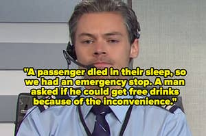 """Harry Styles in an """"SNL"""" airplane sketch"""