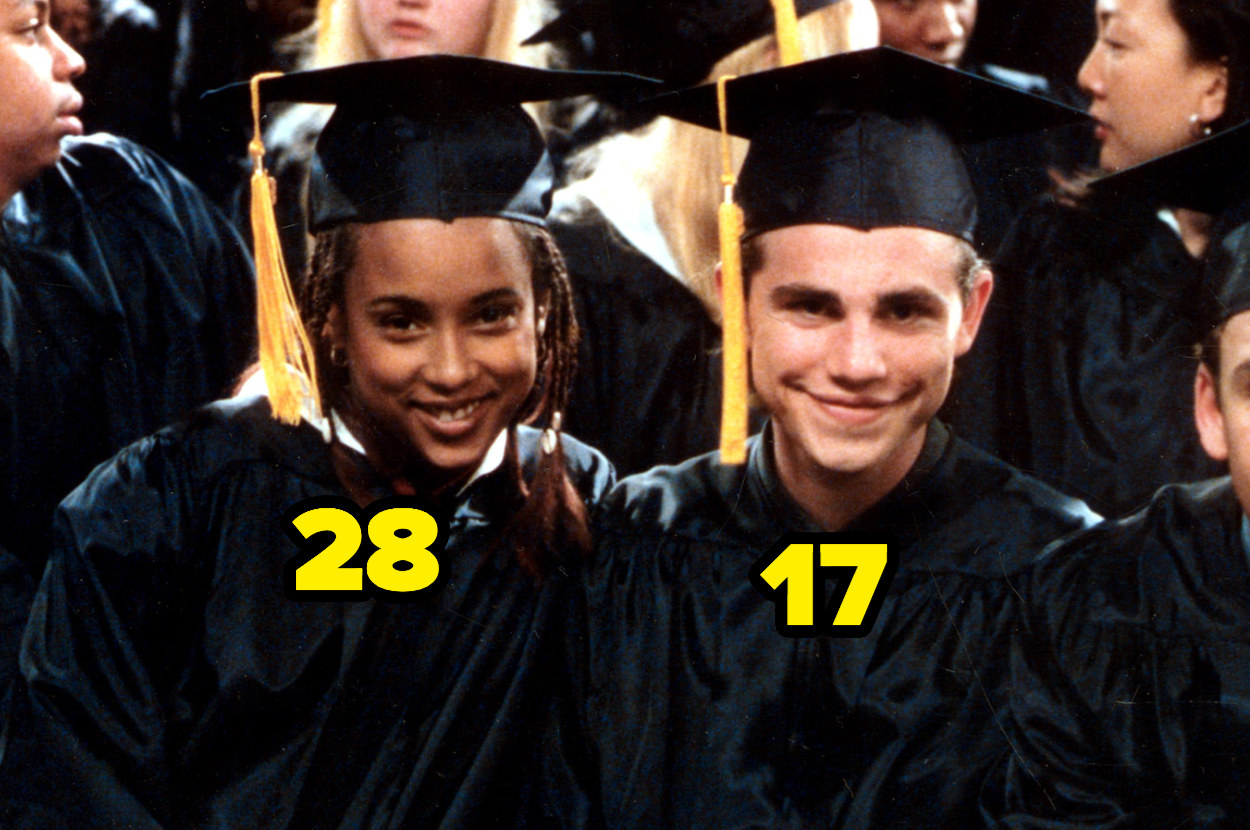 28-year-old Trina McGee Davis and 17-year-old Rider Strong in graduation outfits
