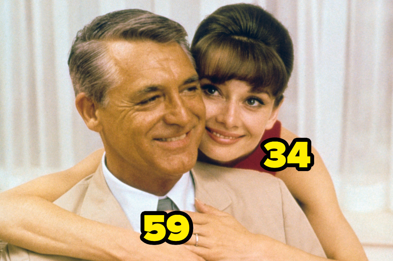 34-year-old Audrey Hepburn with her arms around 59-year-old Cary Grant