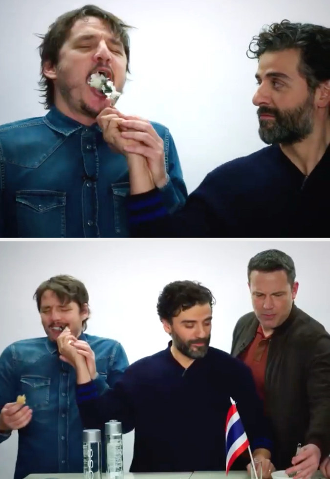Oscar shoving a spoonful of rice into Pedro's mouth