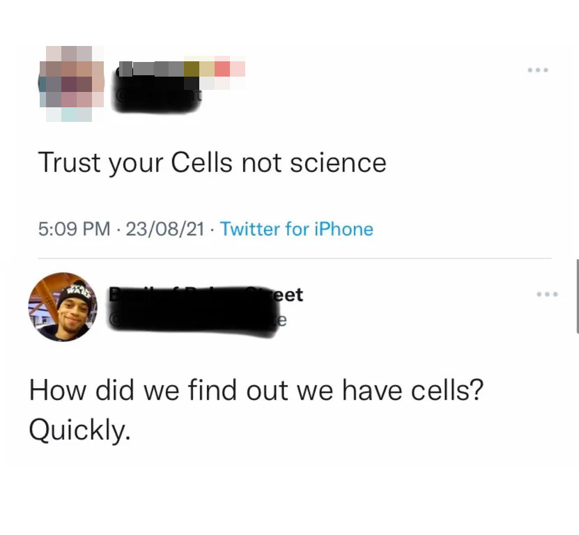 Person who says trust cells, not science