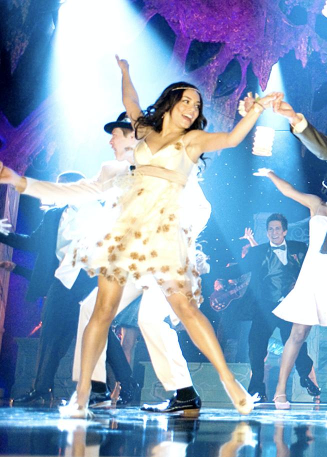 Gabriella dancing in the white dress