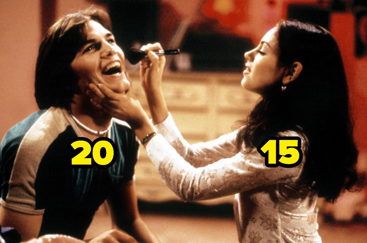 15-year-old Mila Kunis doing 20-year-old Ashton Kutcher's makeup