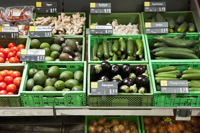 A grocery store produce section