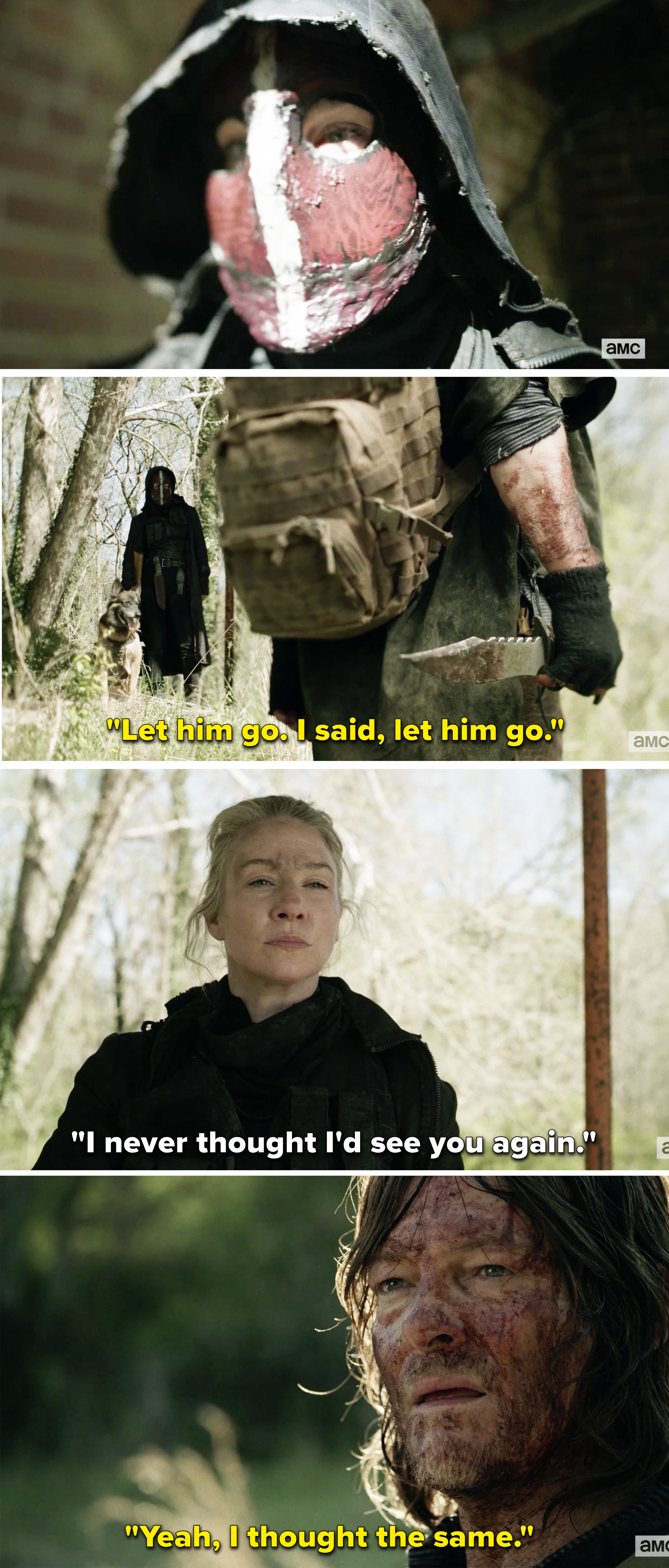 Leah telling Daryl she never thought she'd see him again