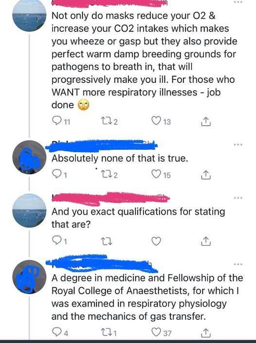 Person saying masks don't work and actually increasing your carbon dioxide levels and present a breeding ground for pathogens, and they get shut down by a an expert in respiratory physiology