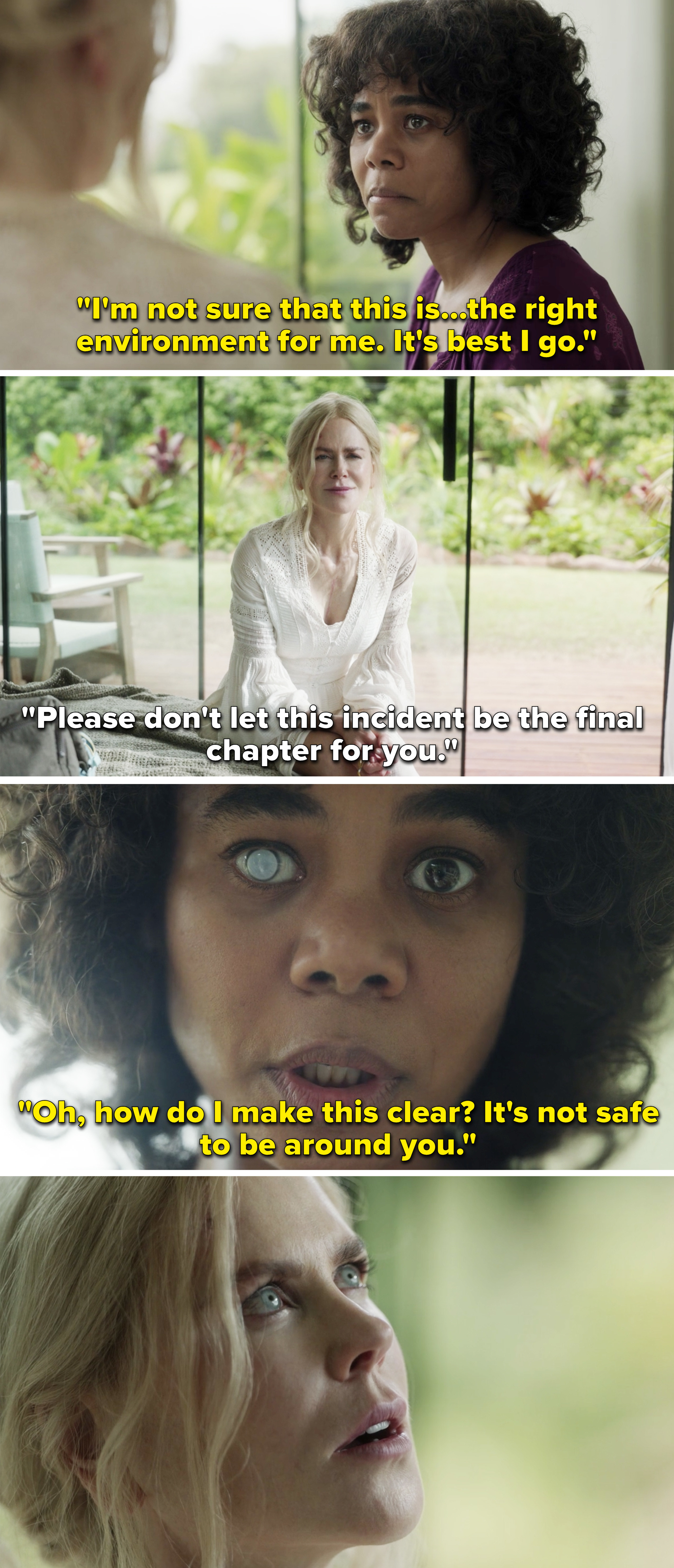 """Carmel telling Masha, """"Oh, how do I make this clear? It's not safe to be around you"""""""